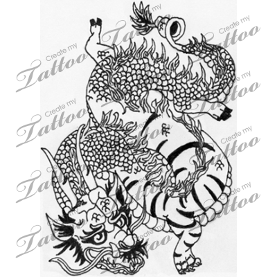 Marketplace Tattoo Mutated Chinese Dragon And Tiger 13814