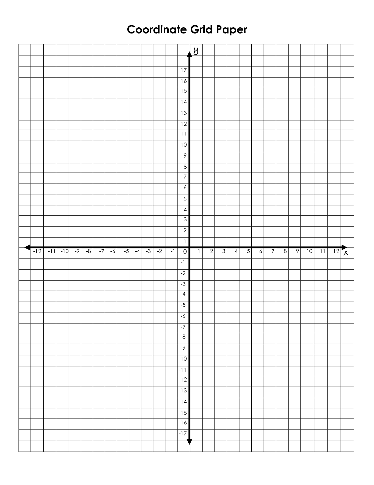 Coordinate Grid Graph Paper Printable