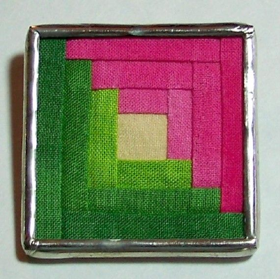 Pink and Green Log Cabin Quilt Block