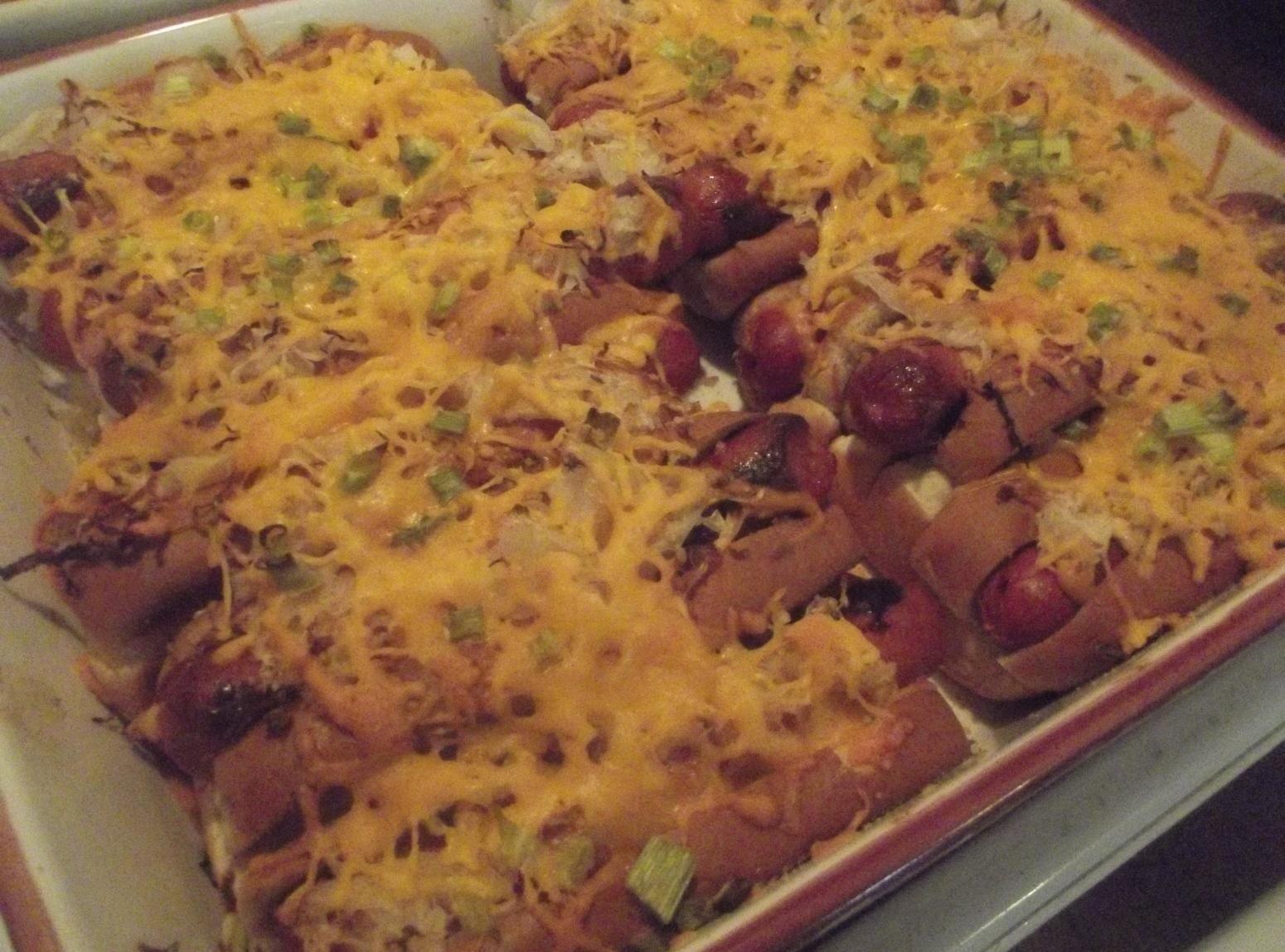 Hot dogs with sauerkraut and cheese hot dogs sauerkraut