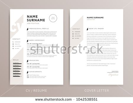 Stylish curriculum vitae CV and cover letter design template rose