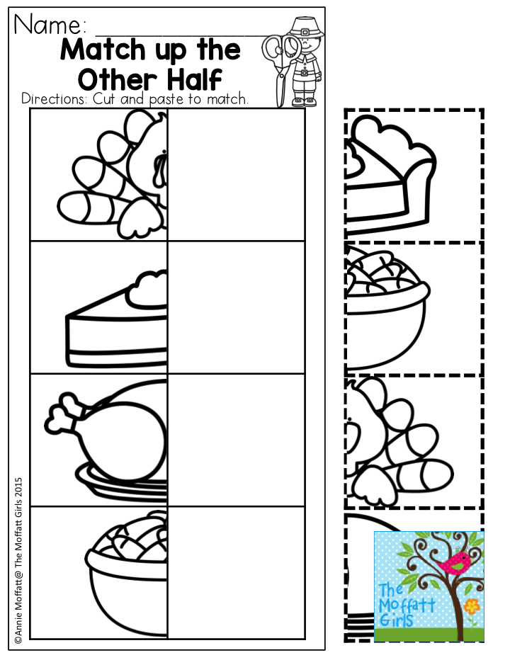 Match up the Other Half- Thanksgiving fun for preschool! November NO ...