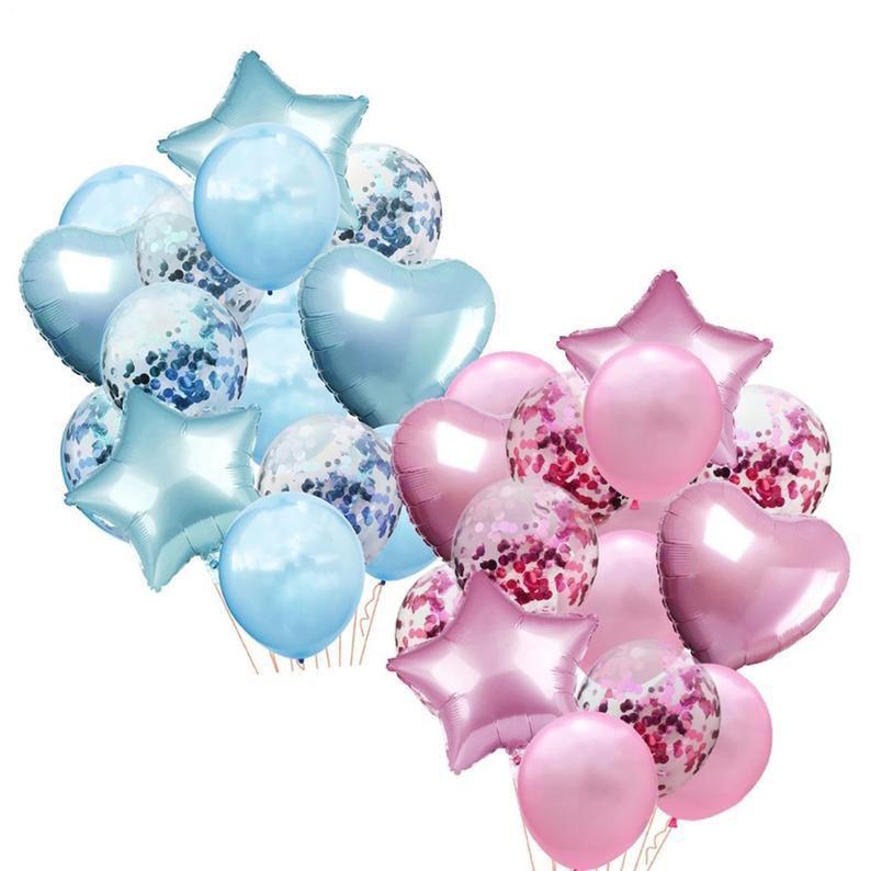 Pink Blue Star Heart Confetti Balloon Set Baby Shower Balloons Pink Birthday Balloons Blue Party Balloons Foil Heart Balloons Birthday Balloons Girl Baby Shower Party Girl Baby Shower Party Supplies