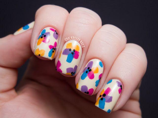 Chalkboard Nails - Bright Easter Floral