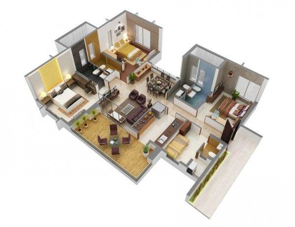 3 Chambre A Coucher Appartement Maison Plans 3d House Plans