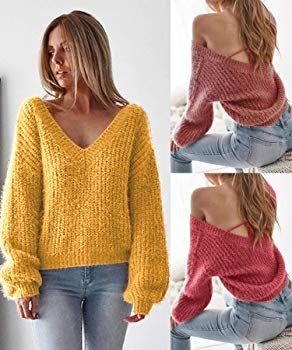 Angashion Damen Sweater lose mit Langen Ärmeln V Ausschnitt