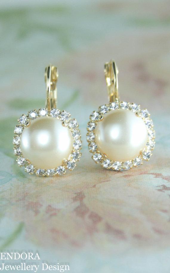Pearl Earrings Drop Cream 12mm
