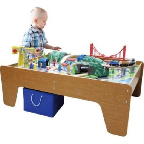 100 PC Kids Wooden Track Thomas Play Toy Toddler Activity Table Train Tank  Set #Unbranded