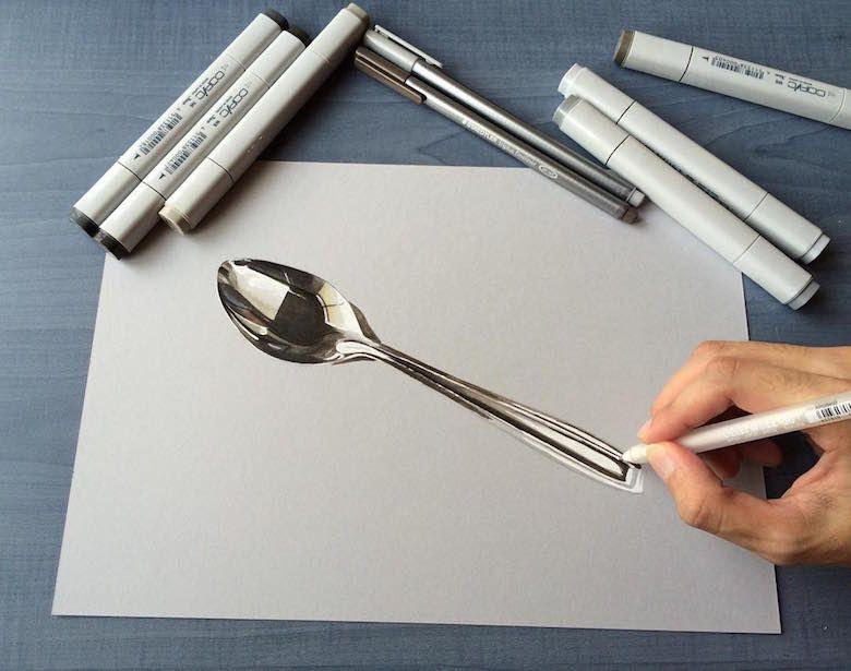 Hyperrealistic D Drawings By Sushant Rane Spoon Street Art - Artist creates amazing hyper realistic 3d drawings