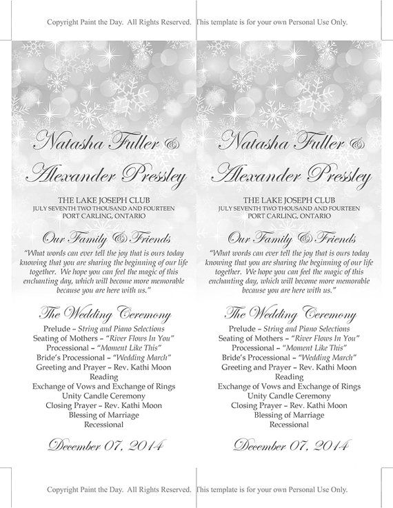 winter wedding program template snowflake showers silver