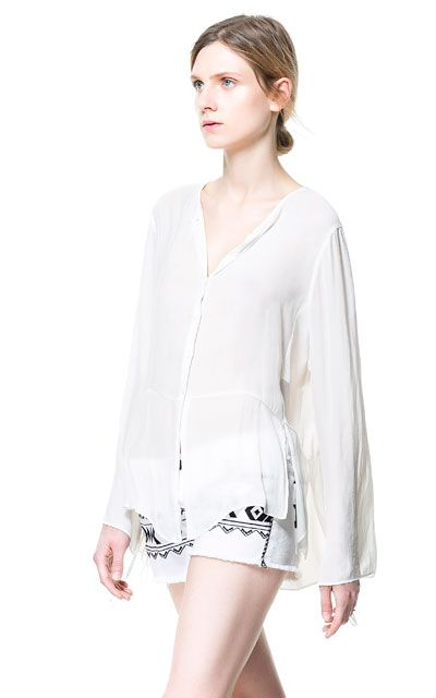 BLOUSE WITH DRAWSTRING SLEEVES - Blouses - Tops - Woman - ZARA United States