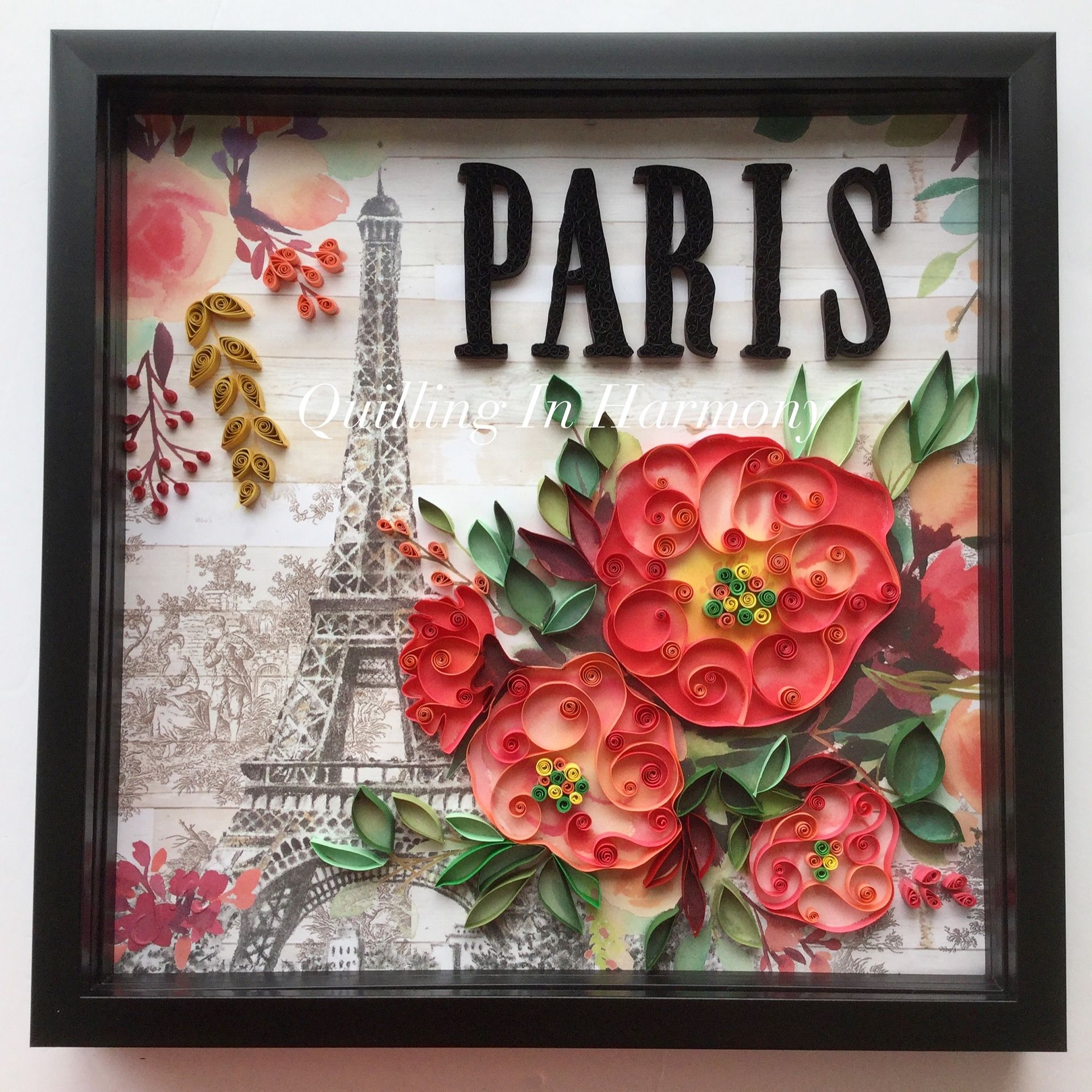 """🇨🇦 Title: """"PARIS"""" 12""""x12"""" (30cmx30cm) Quilling, hand crafted paper artwork by Jan and Shannon. For  custom orders please contact us at quilling_in_harmony@hotmail.com"""