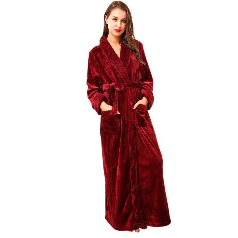 Femme Luxe Flanelle Polaire Robe de Chambre Femme Peignoir Sleepwear Nightwear