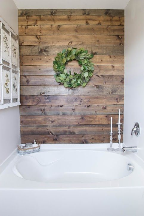 Plank walls instantly upgrade any tub. #decorideas #renovation