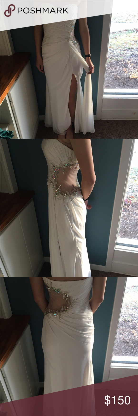 White Faviana Gown Size 4, never been worn and never been altered Faviana Dresses Prom