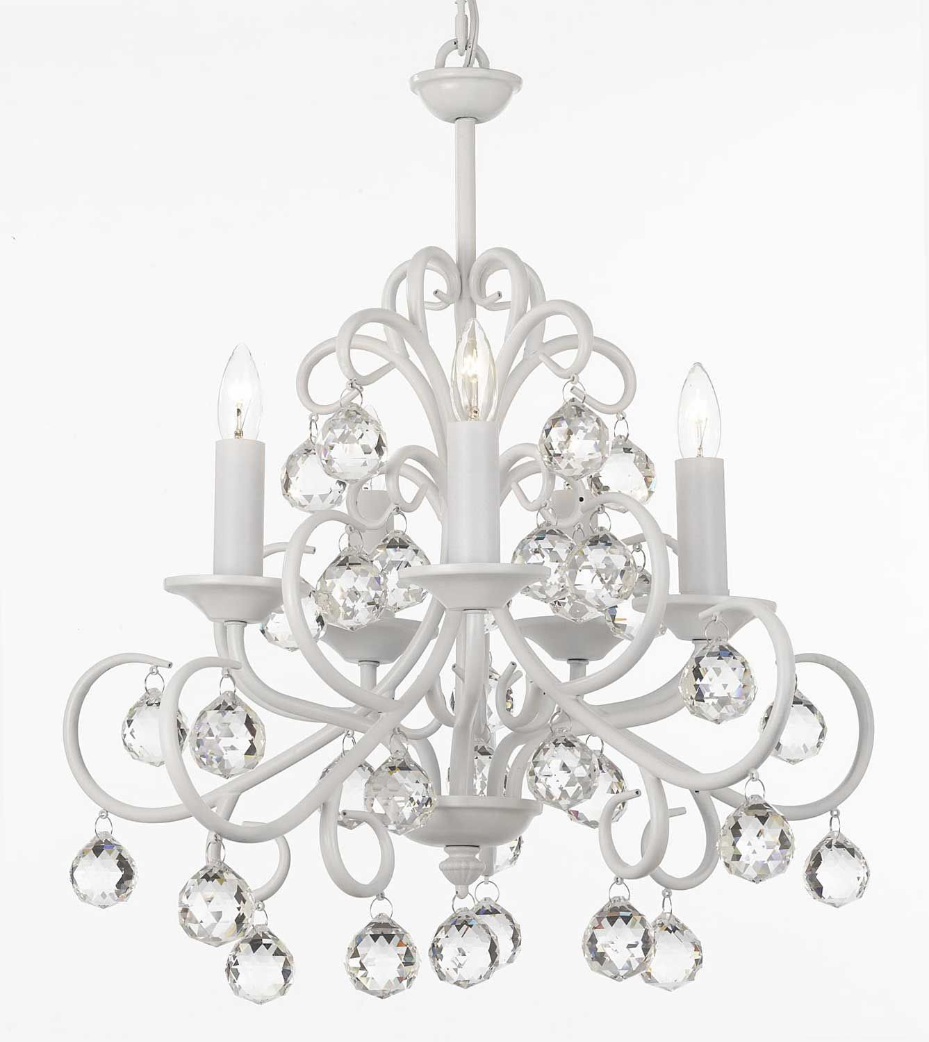 A7-WHITE/586/5 Gallery Wrought [With Crystal] Gallery Wrought [With Crystal] WROUGHT IRON WHITE CHANDELIER
