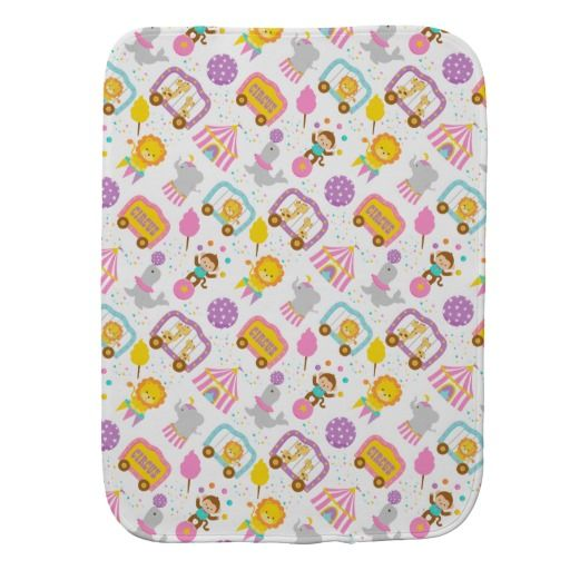 Cute Pattern Pink Circus Carnival Characters Baby Burp Cloths
