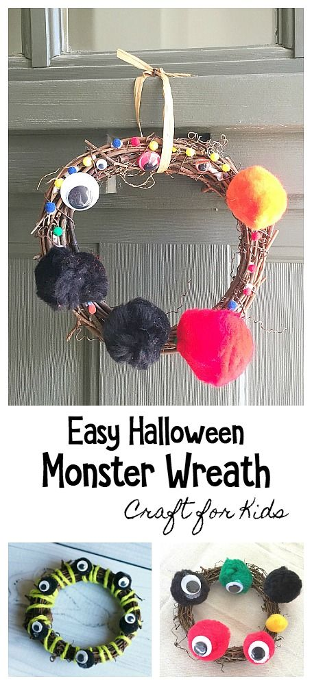 Easy and Quirky Monster Halloween Wreath Craft for Kids Homemade - fun homemade halloween decorations