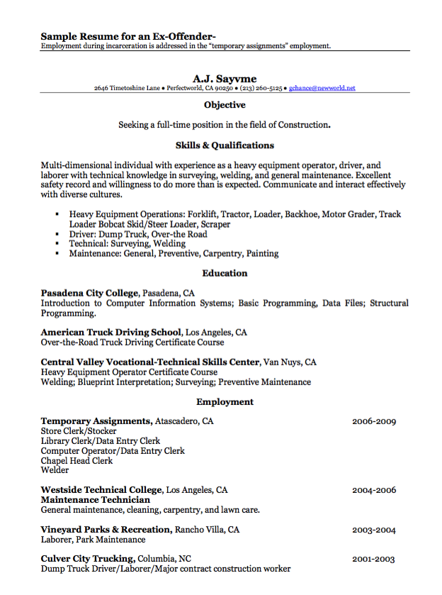 Sample Resume For An Ex Offender Examples Resume Cv Sample Resume Resume Resume Cv