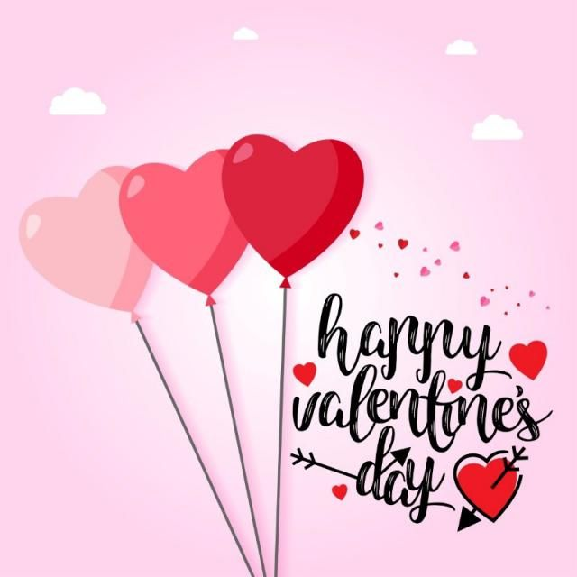 Happy valentine\'s day with pink hearts and background, Text, Type ...