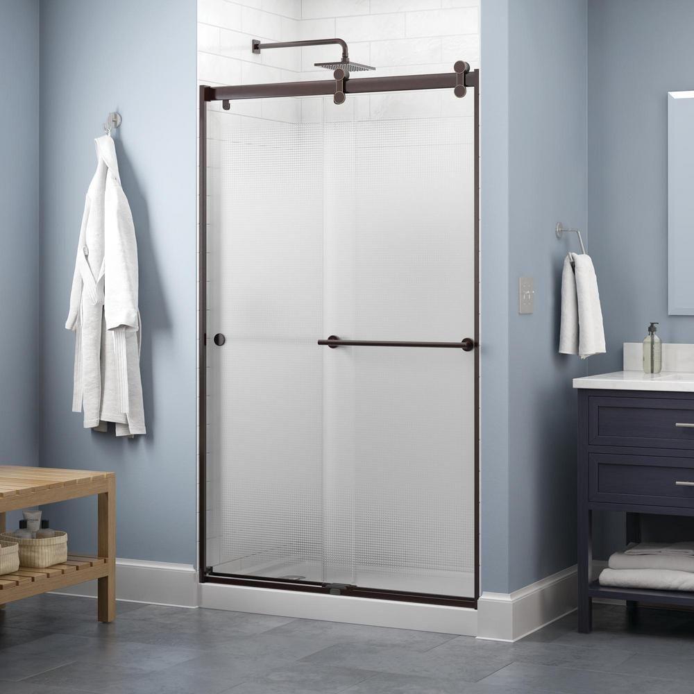 Delta Lyndall 48 X 71 In Frameless Contemporary Sliding Shower