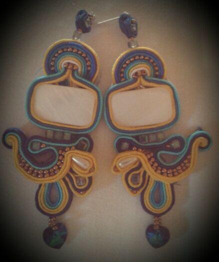 earrings with swarovski heart pendants soutache by CauliSflowers