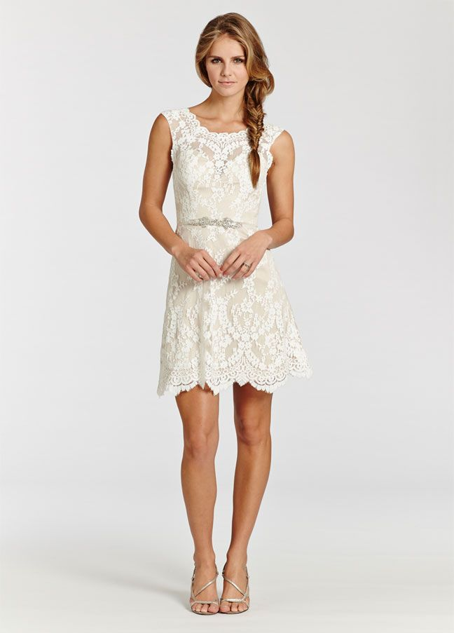 Ivory lace over champagne Charmeuse short dress. Sheer bateau