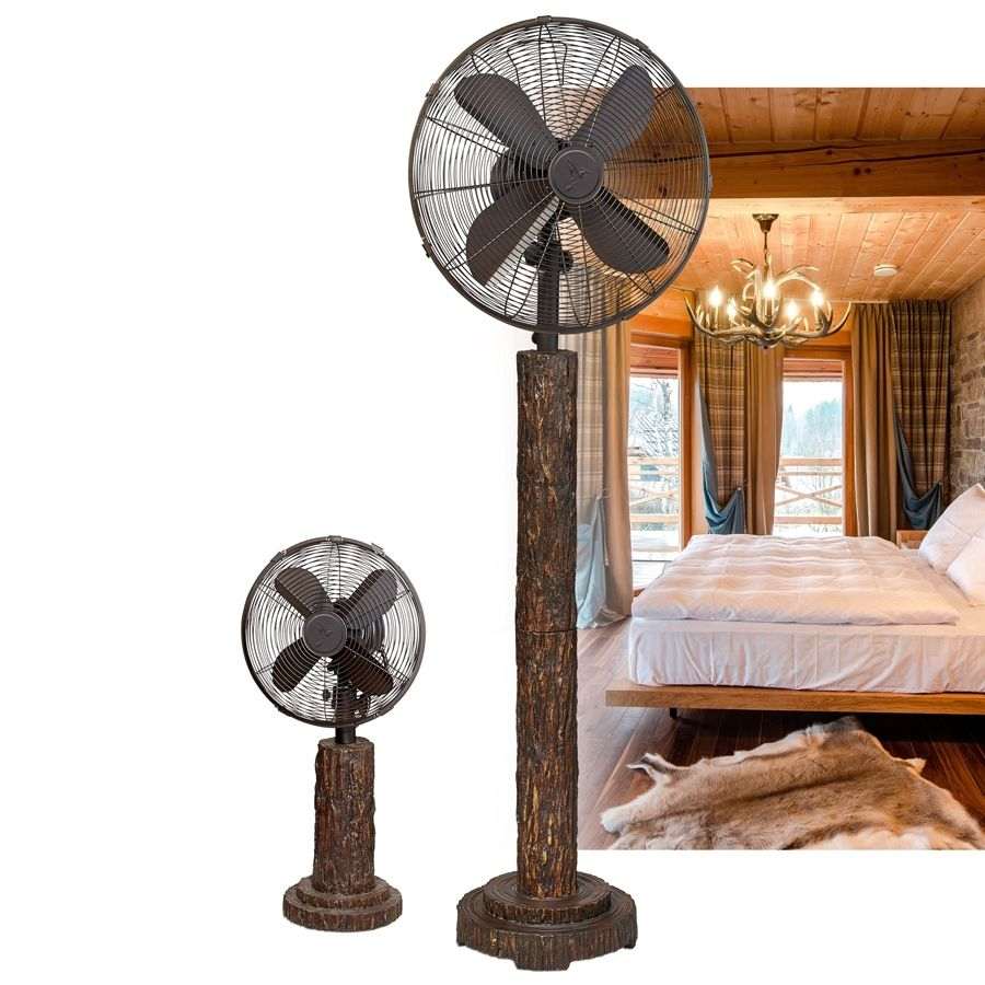 These pedestal fans resemble fir tree bark and would fit