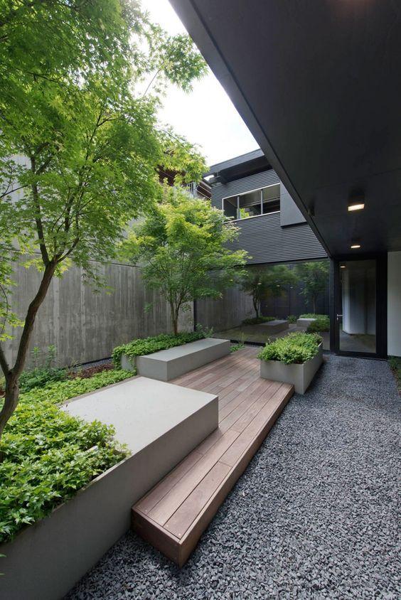 Ideen Zur Gartengestaltung  Modern Zierkies Grau Pflanzkübel Bodendecker Baum Bepflanzung
