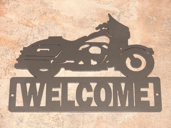 Harley davidson motorcycle welcome sign home decor wall for Harley davidson decorations for home