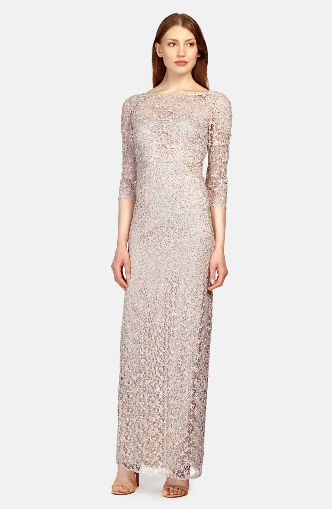 Kay Unger Sequin Lace Colum Gown | My Daughter\'s Wedding | Pinterest ...