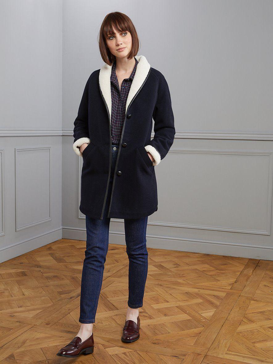 Manteau détails sherpa femme encre, Femme Vetement et