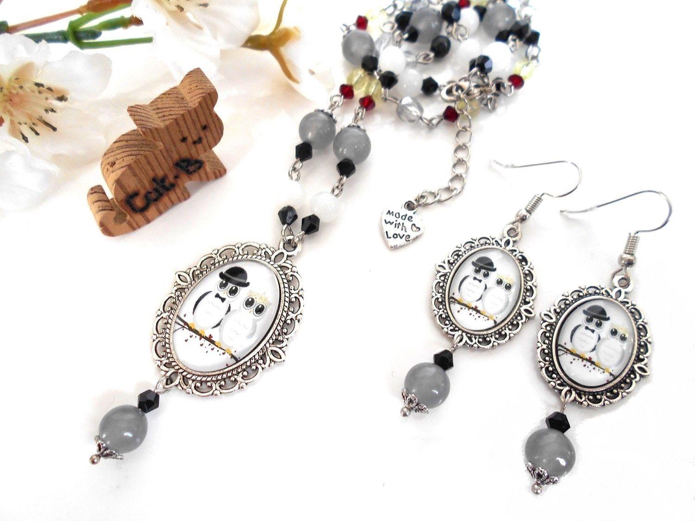 Parure bijoux boucles d'oreilles pendantes et collier   Etsy ...