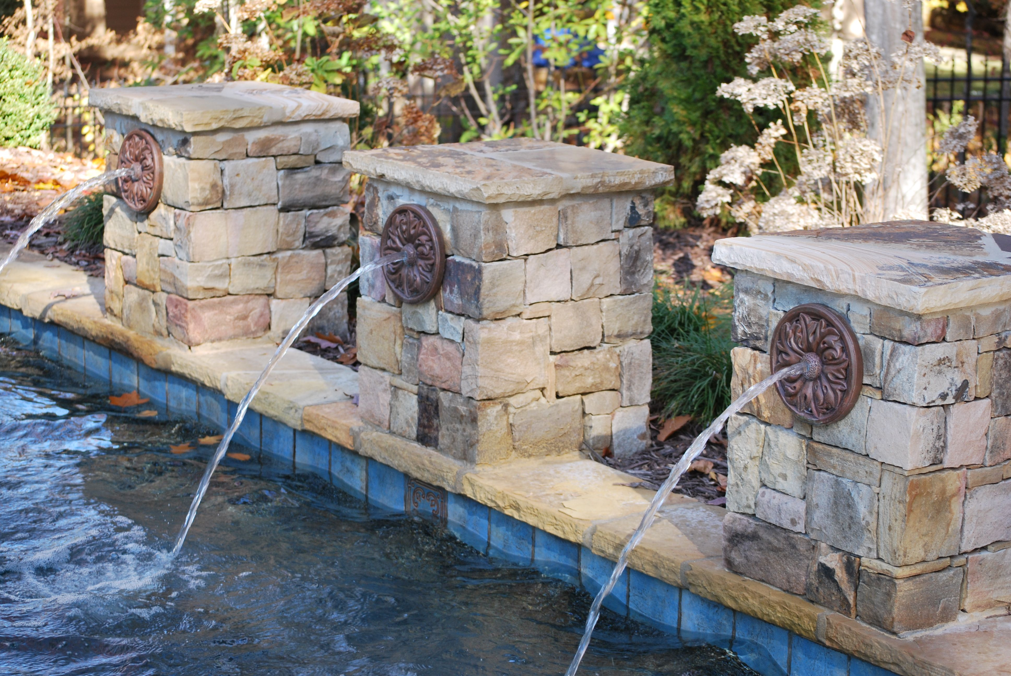 Stacked Stone Columns Water Spouts Pool Water Features
