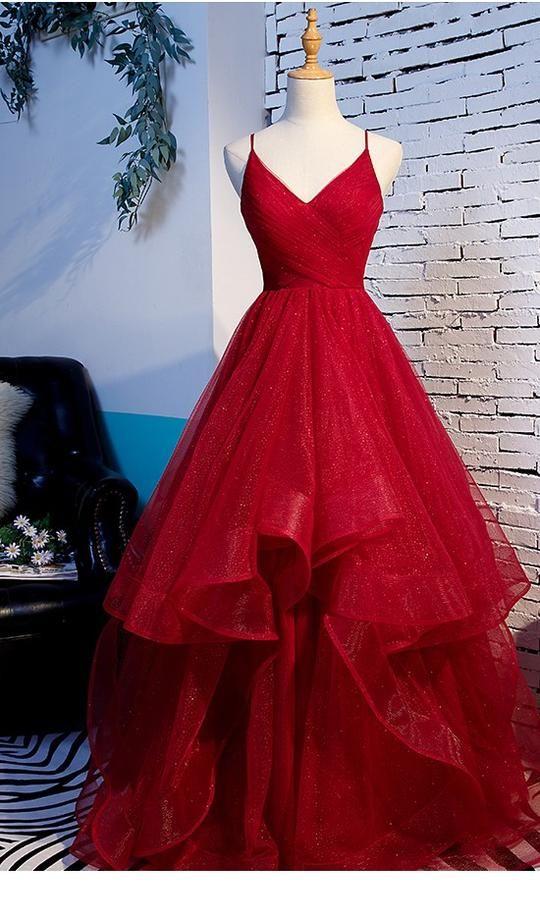 Fashion Spaghetti Straps Ball Gown Dark Red Prom D
