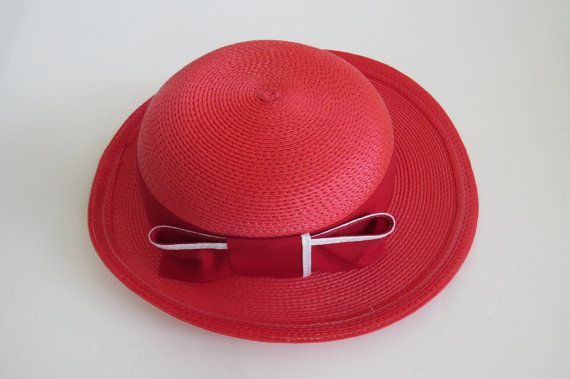 Items similar to Vintage Red Straw Bowler Hat by Mr C - Red Ribbon Bow Millinery - Red Hat Society - Womens Summer Fashions Accessories - Gift Idea on Etsy