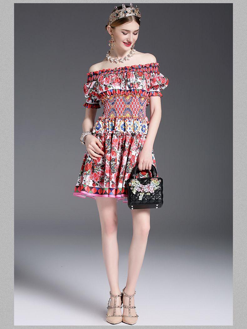 c5b9a2e509765 fashion 2019 Runway Designer Summer Dress Women's Off the Shoulder ...