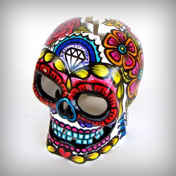 Ceramic Sugar Skull Lantern Day Of The Dead Votive Holder Hand Painted Tattoo Heart Flowers Birthday Wedding Anniversary Dia D Skull Skull Painting Sugar Skull
