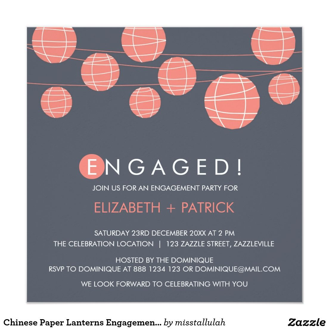 Chinese Paper Lanterns Engagement Party Invitation | Engagement ...