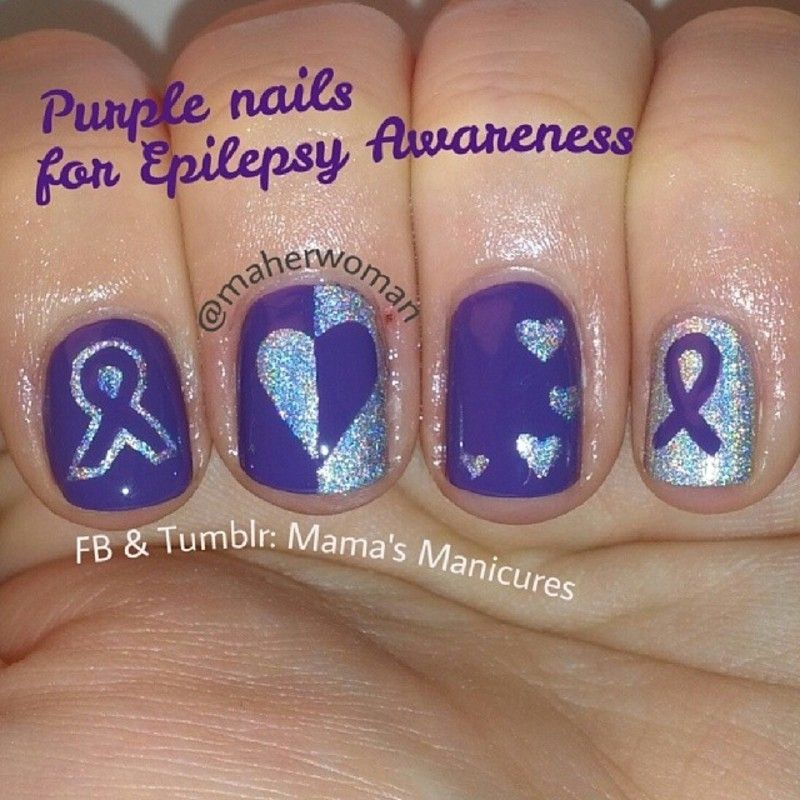 Nailpolis Museum Of Nail Art Purple Nails For Epilepsy Awareness By Mama S Manicures Maherwoman Nails Purple Nails Purple Nail Designs