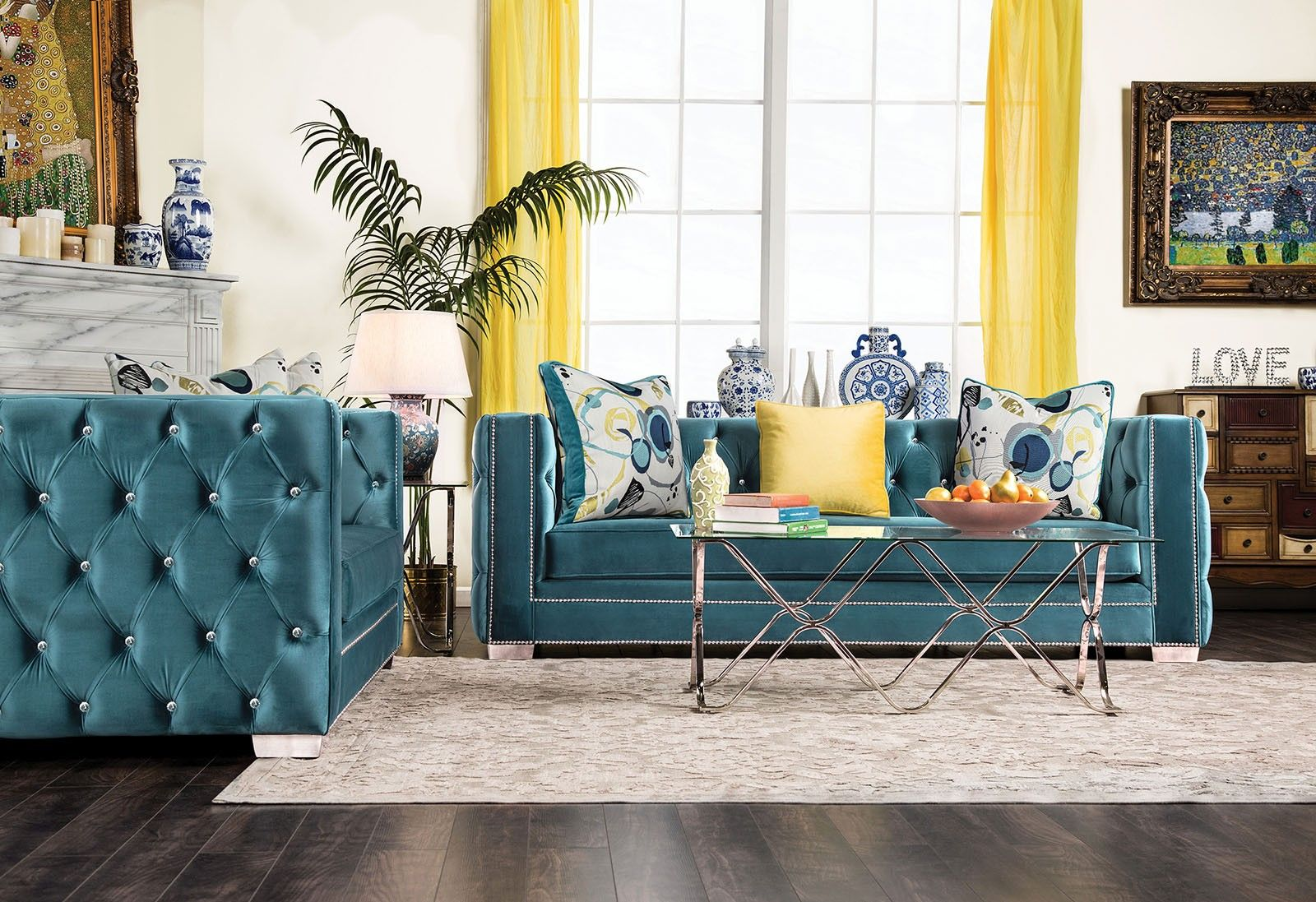 Salvatore Turquoise Living Room Set Living Room Turquoise Turquoise Living Room Decor Living Room Sets