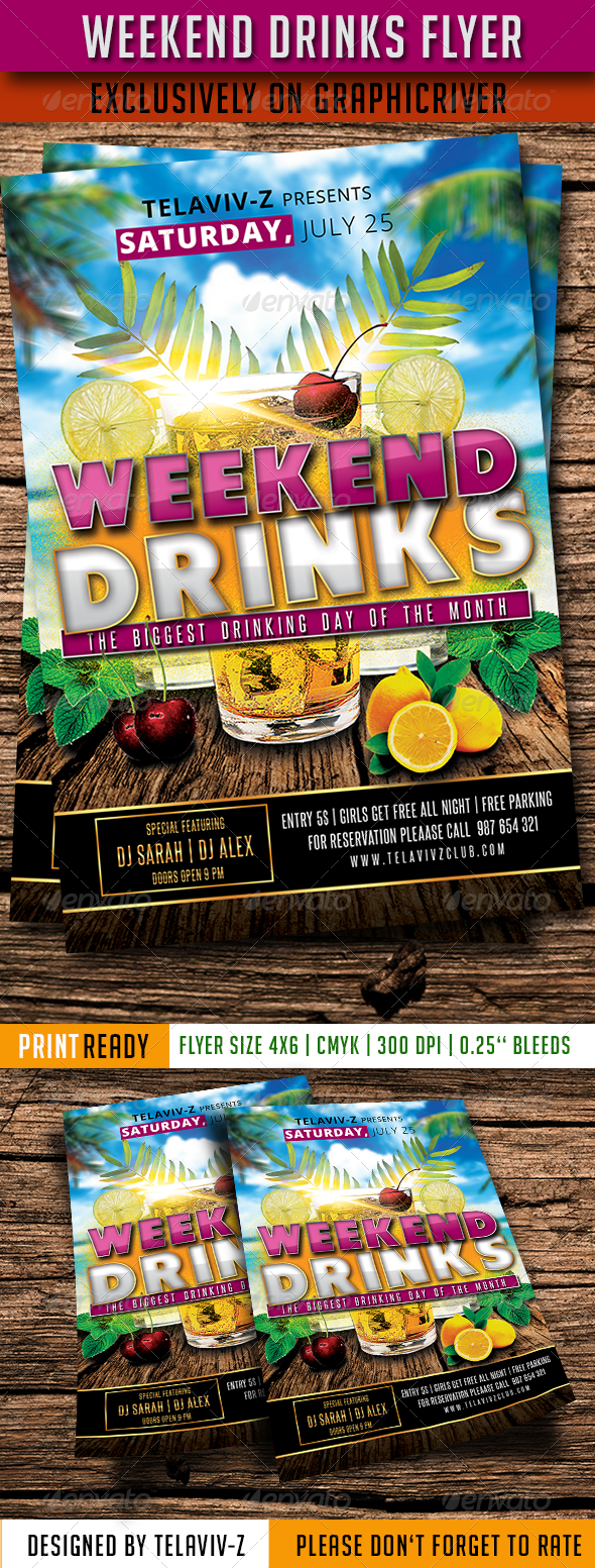 Weekend Drinks Flyer Template PSD Buy And Download Http - Buy flyer templates