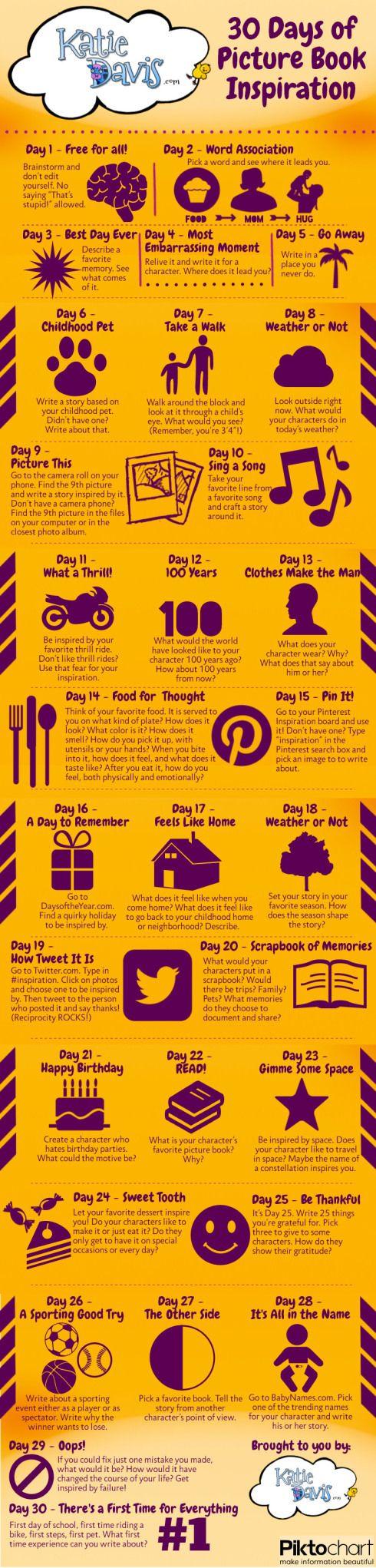 I love these writing tips.....30 Days of Picture Book Inspiration (Katie Davis via Tara Lazar's blog)