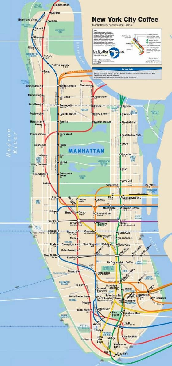 Hopstop Subway Map.Cafe Map Sorts Manhattan S Best Coffee By Subway Stop Map Love