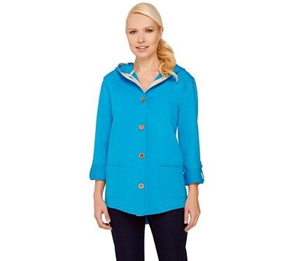 A265734 Susan Graver Weekend French Terry Roll Tab Sleeve Jacket