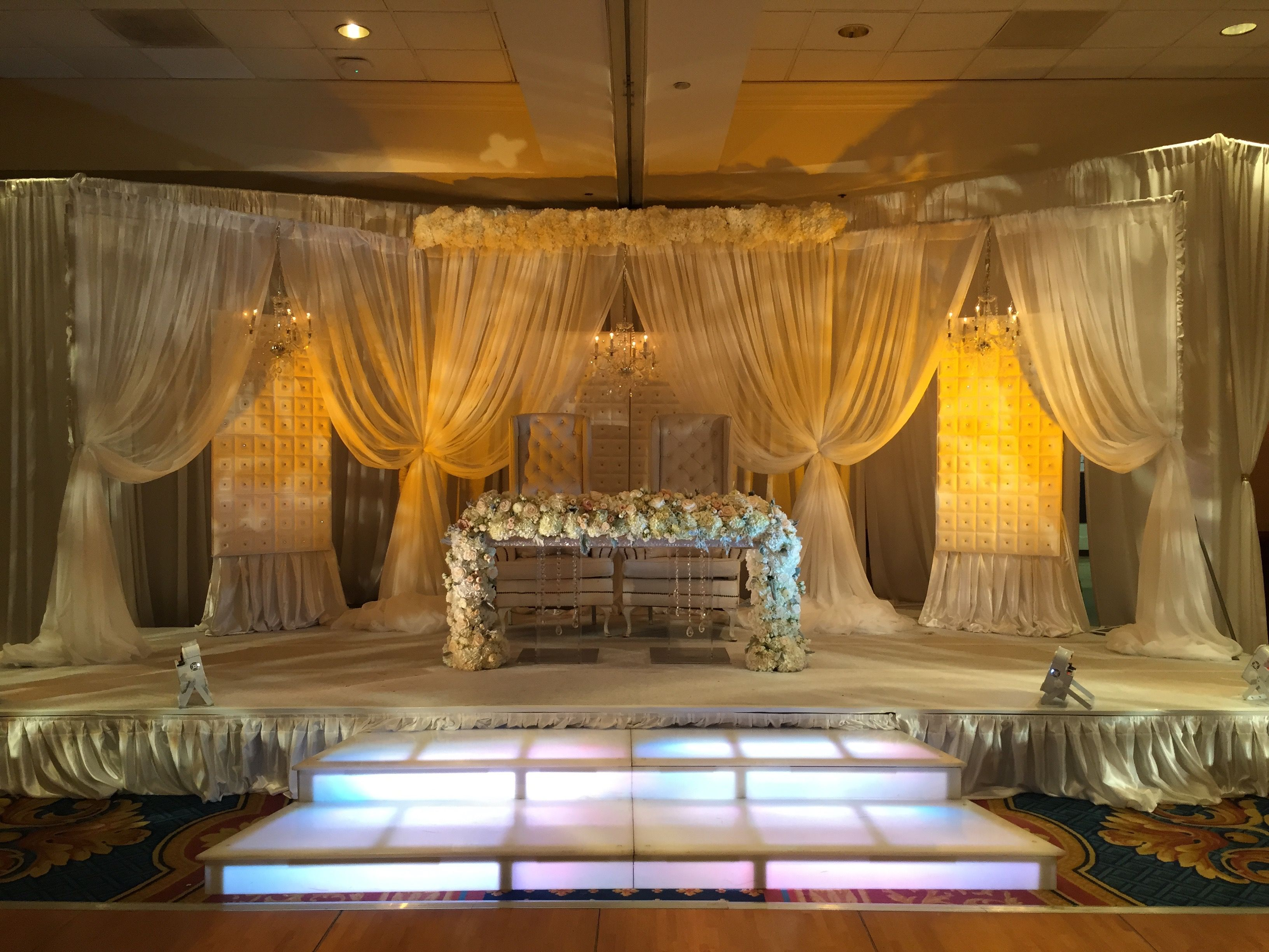 All White Wedding Stage With Up Lighting And Acrylic Stairs Also Best Weddings Images