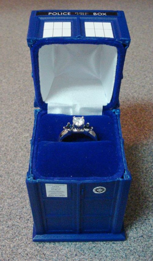 TARDIS ring box. Oh, yeah, the ring is pretty sweet too. (from Fashionably Geek — Clothing and accessories for the well-dressed geek —)