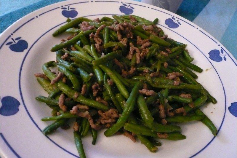 Po l e de haricots verts la viande hach e et au curry - Cuisiner haricots verts surgeles ...