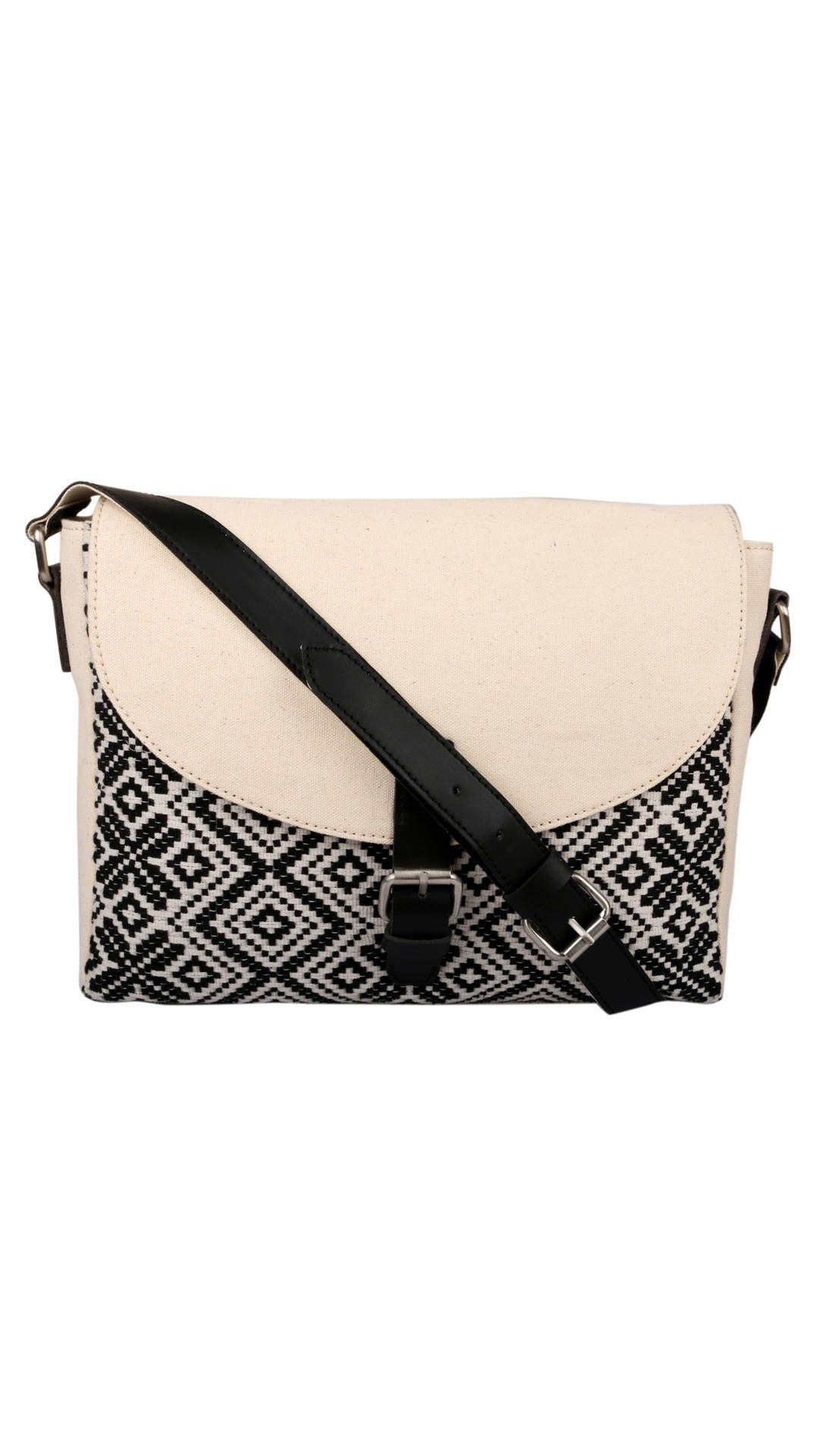 Buy Rebelt Black And Cream Cotton Sling Bag Online at Low Prices ...