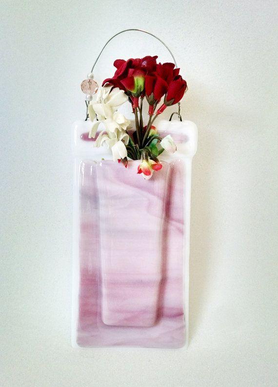 Fused Glass Wall Vase Pocket Vase Pink Swirl Wall Hanging